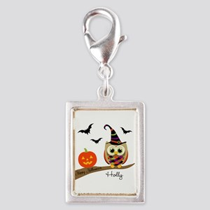 Custom name Halloween owl Silver Portrait Charm