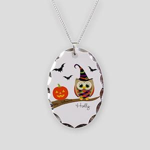 Custom name Halloween owl Necklace Oval Charm
