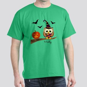 Custom name Halloween owl Dark T-Shirt