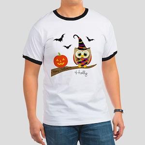 Custom name Halloween owl Ringer T