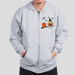 Custom name Halloween owl Zip Hoodie