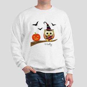 Custom name Halloween owl Sweatshirt