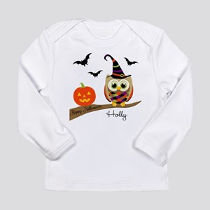 Custom name Halloween owl Long Sleeve Infant T-Shi