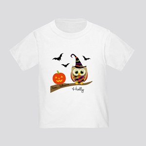 Custom name Halloween owl Toddler T-Shirt