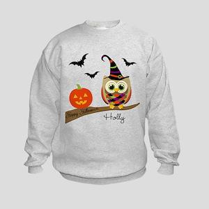 Custom name Halloween owl Kids Sweatshirt