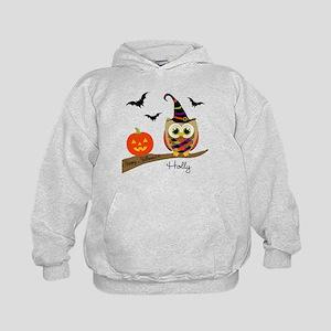 Custom name Halloween owl Kids Hoodie