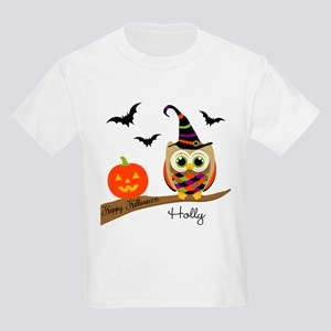 Custom name Halloween owl Kids Light T-Shirt
