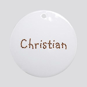 Christian Coffee Beans Round Ornament