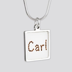 Carl Coffee Beans Silver Square Necklace