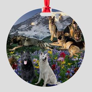 German Shepherd Country Round Ornament