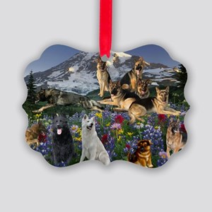 German Shepherd Country Picture Ornament