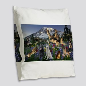 German Shepherd Country Burlap Throw Pillow