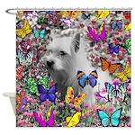 Violet White Westie Butterflies Shower Curtain