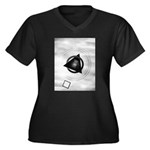 Point To The Moon Women's Plus Size V-Neck Dark T-