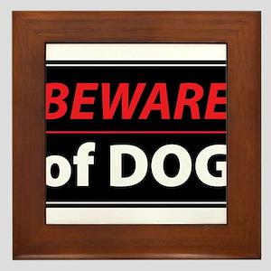 Beware Of Dog Framed Tile