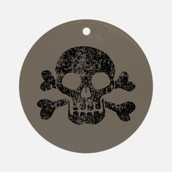 Worn Skull And Crossbones Ornament (Round)