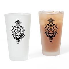 Gothic Skull Crest Drinking Glass