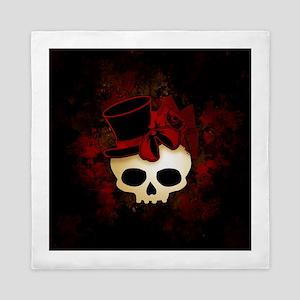 Cute Gothic Skull In Top Hat Queen Duvet