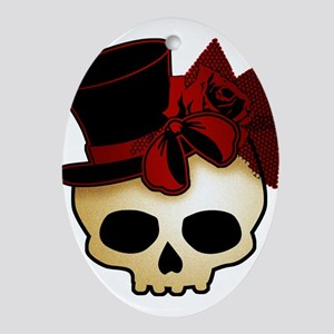 Cute Gothic Skull In Top Hat Ornament (Oval)