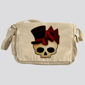 Cute Gothic Skull In Top Hat Messenger Bag