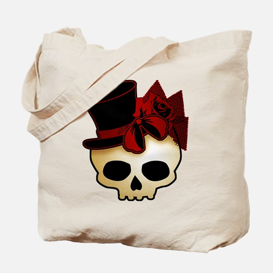 Cute Gothic Skull In Top Hat Tote Bag