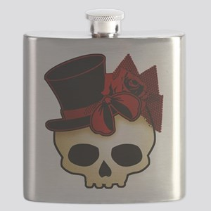 Cute Gothic Skull In Top Hat Flask