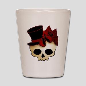 Cute Gothic Skull In Top Hat Shot Glass