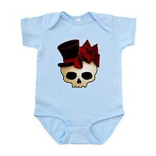 Cute Gothic Skull In Top Hat Infant Bodysuit
