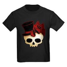 Cute Gothic Skull In Top Hat Kids Dark T-Shirt
