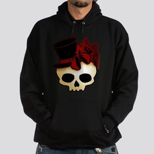 Cute Gothic Skull In Top Hat Hoodie (dark)