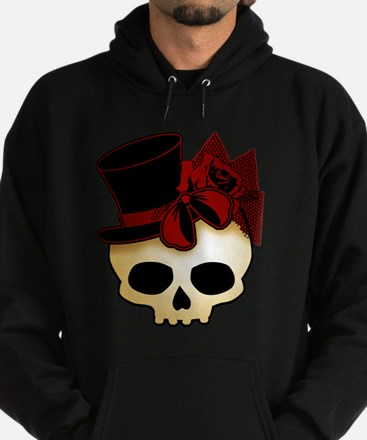 Cute Gothic Skull In Top Hat Hoodie (dark)