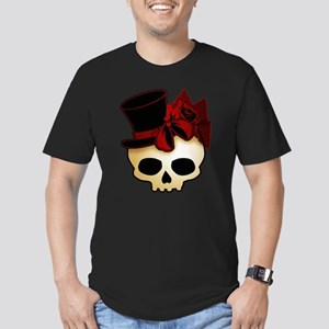 Cute Gothic Skull In Top Hat Men's Fitted T-Shirt