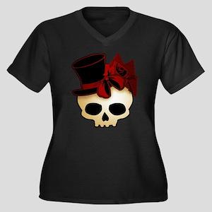 Cute Gothic Skull In Top Hat Women's Plus Size V-N