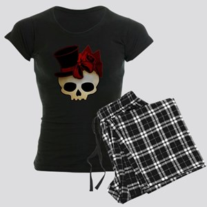 Cute Gothic Skull In Top Hat Women's Dark Pajamas