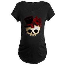 Cute Gothic Skull In Top Hat Maternity Dark T-Shir