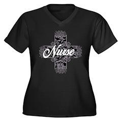 Gothic Nurse Women's Plus Size V-Neck Dark T-Shirt