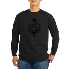 Gothic Skull Crest Long Sleeve Dark T-Shirt