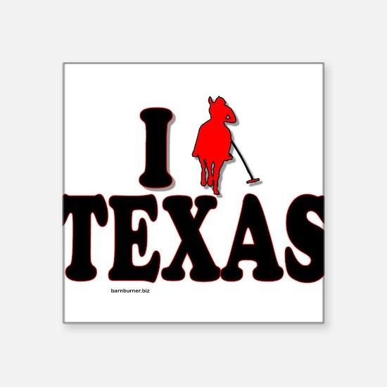 "I (polo) Texas.png Square Sticker 3"" x 3"""