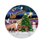 Xmas Magic & Whippet (stand) Ornament (Round)