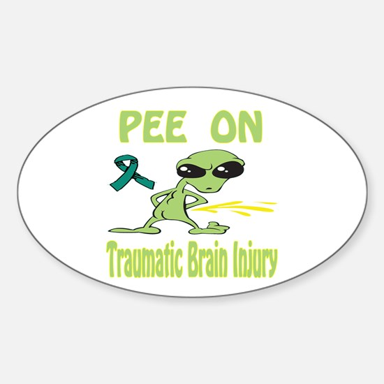 Pee on Traumatic Brain Injury Sticker (Oval)