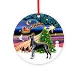 Xmas Magic & Blue Great Dane Ornament (Round)