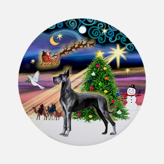 Xmas Magic & Blue Great Dane Ornament (Round)