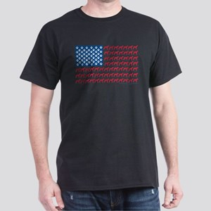 Greyhound Patriotic American Flag Dark T-Shirt