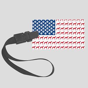 Greyhound Patriotic American Flag Large Luggage Ta