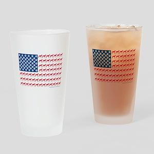 Greyhound Patriotic American Flag Drinking Glass