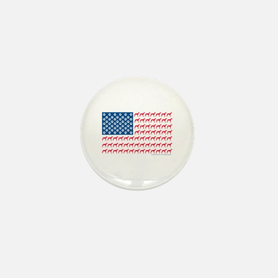 Greyhound Patriotic American Flag Mini Button