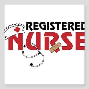 "Registered Nurse Square Car Magnet 3"" x 3"""