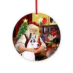 Santa's Harlequin Great Dane Ornament (Round)