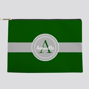Dark Green Gray Monogram Personalized Makeup Pouch
