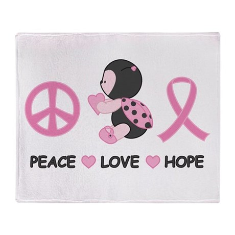 Ladybug Peace Love Hope Throw Blanket